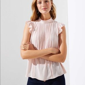 NWT Loft Lacy pintucked mixed media blouse top